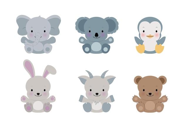 흰색에 귀여운 코끼리, 펭귄, 토끼 등의 유사한 평면 스타일 집합입니다. 흰색 바탕에 사랑스러운 숲 동물