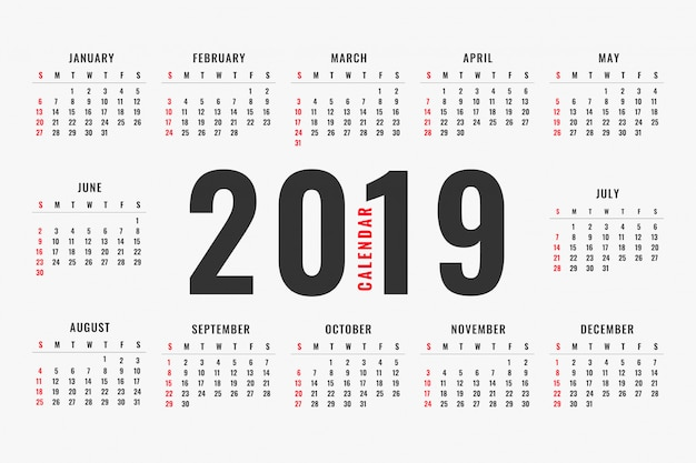 Simple 2019 calendar layout design