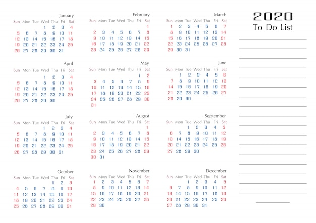 Simple 2020 calendar template year to do list planner
