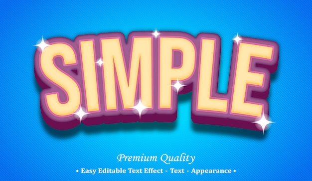Simple 3d editable text style effect Premium Vector