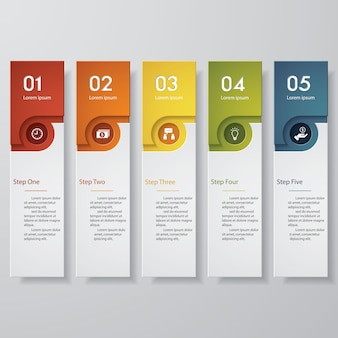 Simple 5 steps clean number banners template. EPS 10.