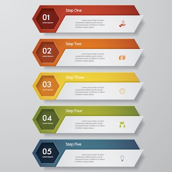 Simple 5 steps clean number banners template