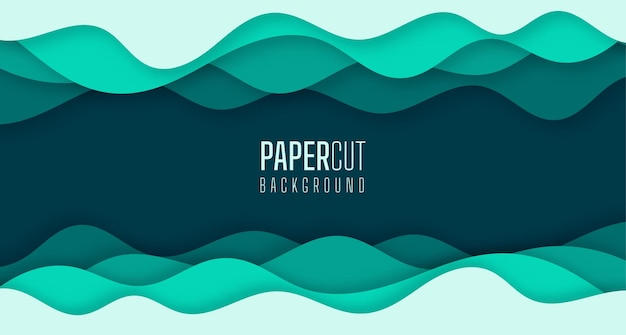Simple abstract background of green sea water waves modern paper cut graphic design