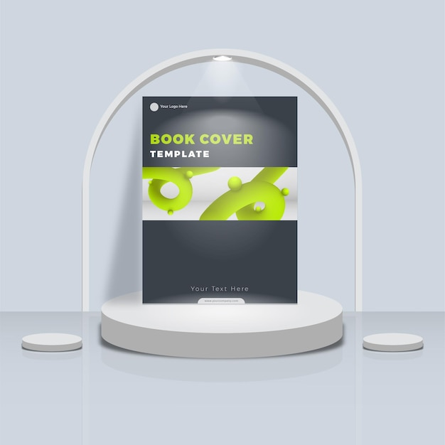 Simple abstract design book cover with podium display