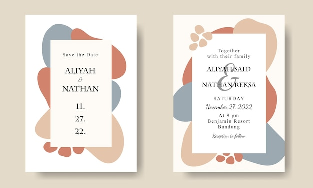 シンプルな抽象的な手描きの形の結婚式の招待カードのテンプレート