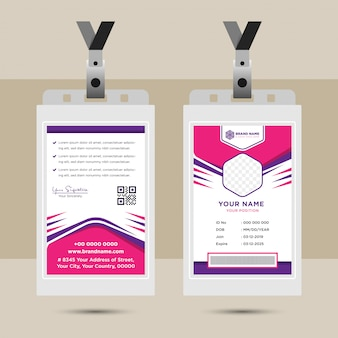 Simple abstract hexagon worker id card template design
