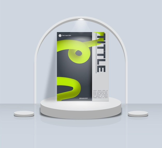 Simple abstract template design book cover with podium display