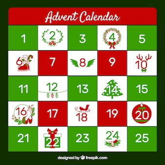 Simple advent calendar in green and red