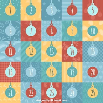 Simple advent calendar with baubles