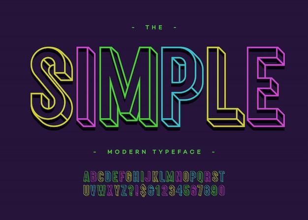 シンプルなアルファベット3dボールドタイポグラフィサンセリフカラフルなラインスタイル