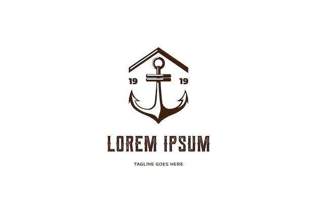 Simple anchor with house for port harbor logo design vector