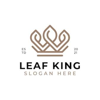 庭のロゴのインスピレーションのための王冠を持つシンプルでエレガントで豪華な自然の葉の王