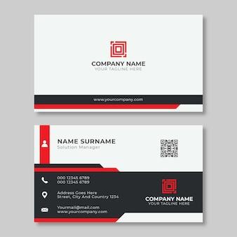 Простой и чистый красно-черный шаблон визитной карточки
