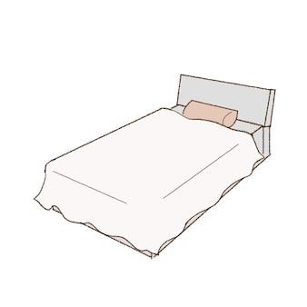 シンプルでキュートなベッド。キュートでシンプルなアートスタイル。白い背景に。