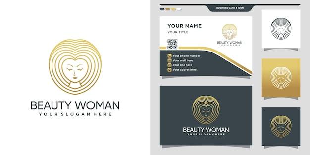 金色のグラデーションラインアートと名刺デザインのシンプルでエレガントな美しさの女性のロゴ。プレミアムベクトル