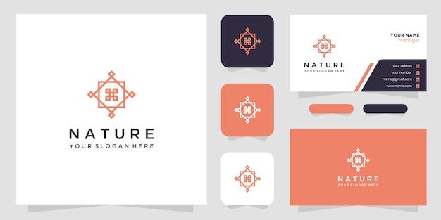 シンプルでエレガントな花のロゴのデザインテンプレートと名刺