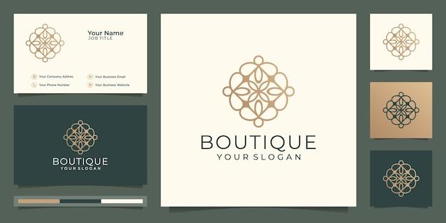 간단하고 우아한 꽃 모노그램 템플릿, 부티크 골드 로고 디자인 및 명함 그림.