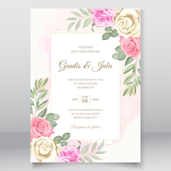 심플하고 우아한 꽃 결혼식 초대장 템플릿