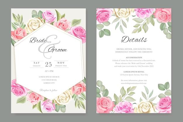 Простой и элегантный цветочный шаблон свадебного приглашения