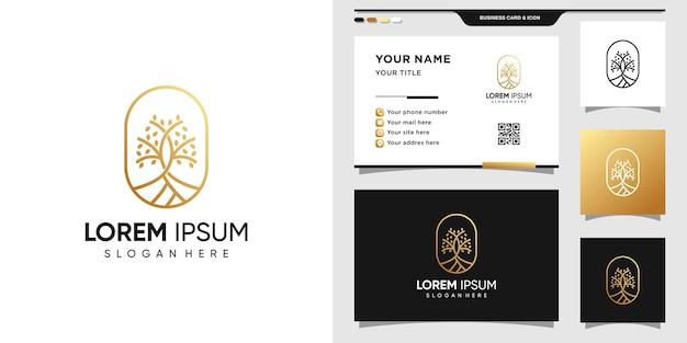 간단하고 우아한 나무 로고 및 명함 디자인