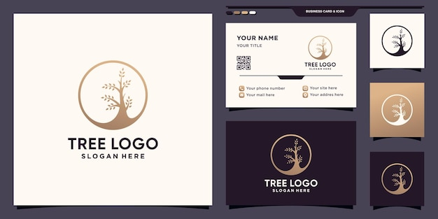 Простой и элегантный логотип дерева с концепцией круга и дизайном визитной карточки premium векторы