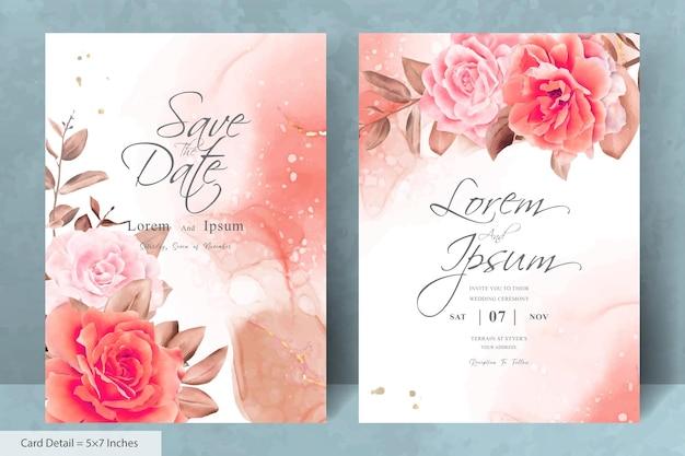 Простой и элегантный шаблон свадебного приглашения с акварельной рисованной цветочные
