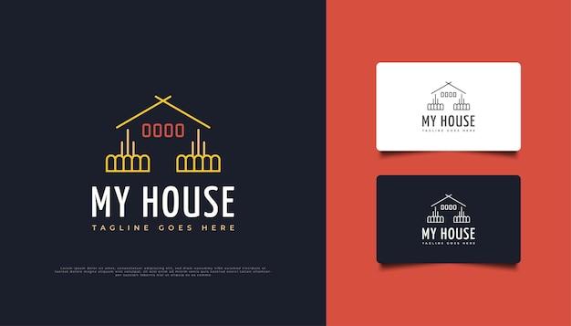 ラインスタイルのシンプルでミニマリストの家のロゴ。建設、建築または建物のロゴデザインテンプレート