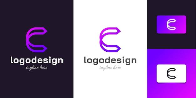 보라색 그라디언트의 단순하고 미니멀한 문자 c 로고 디자인. 기업 비즈니스 아이덴티티에 대한 그래픽 알파벳 기호