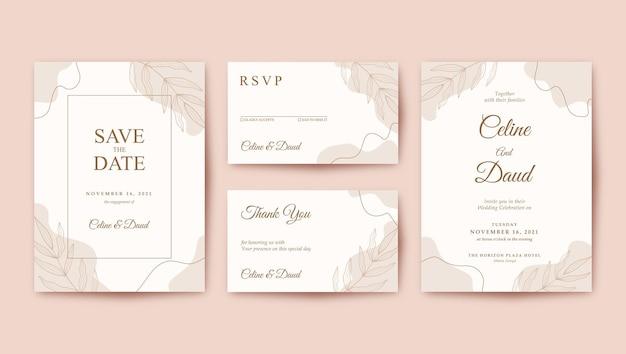 シンプルでミニマリストのパステルブラウンの結婚式の招待状のテンプレート