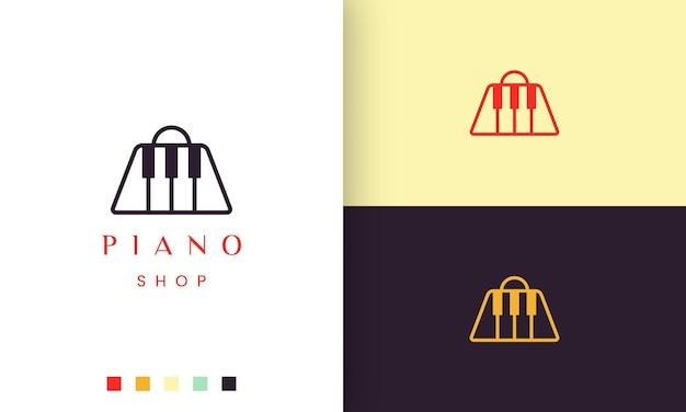 ピアノショップのシンプルでモダンなロゴやアイコン