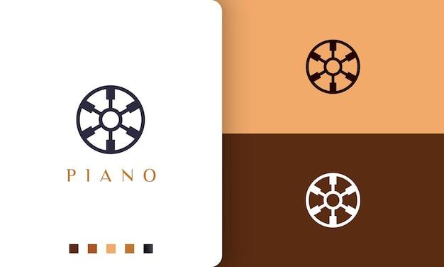 シンプルでモダンなピアノコミュニティのロゴまたはアイコン