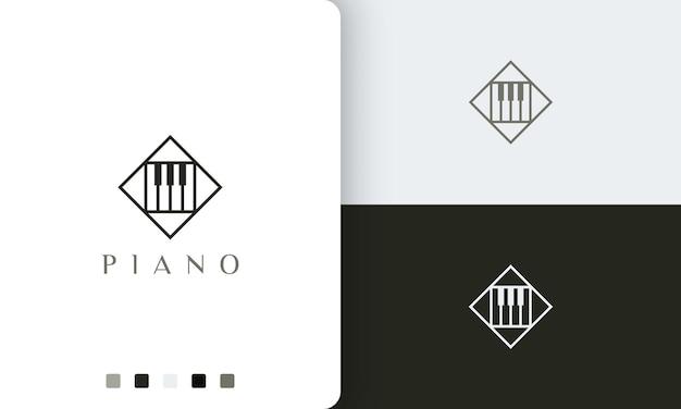 Простой и современный логотип или значок курса фортепиано