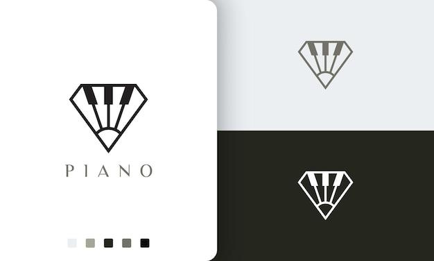 ひし形のシンプルでモダンなピアノのロゴやアイコン