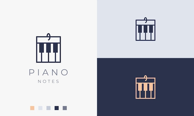 シンプルでモダンなピアノの音符のロゴやアイコン