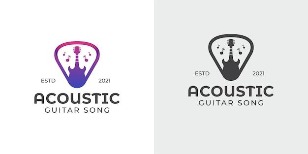 シンプルでシルエットのアコースティックギターとピック、ミュージックショップ、コンサートのロゴ