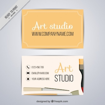 Simple art studio card with brushes