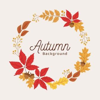 나뭇잎과 장식 요소 벡터와 함께 간단한 가을 화환