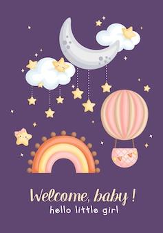 간단한 아기 소녀 환영 카드
