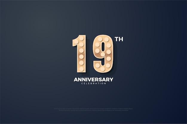 Простой фон для вашей девятнадцатой годовщины с выпуклыми и светящимися числами