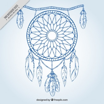 Simple background with blue hand drawn dreamcatcher