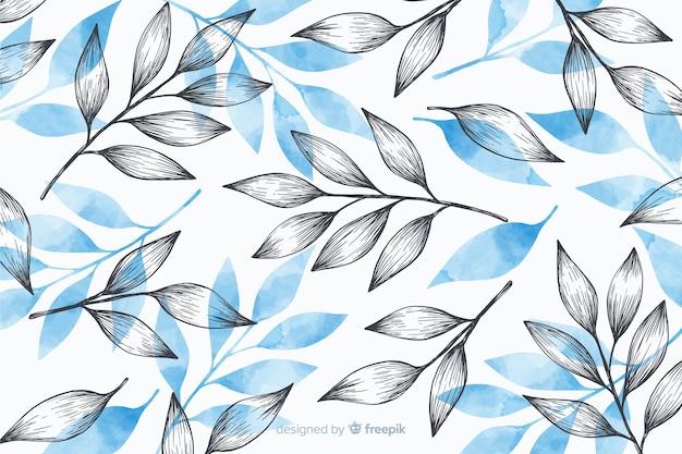 グレーとブルーの葉でシンプルな背景