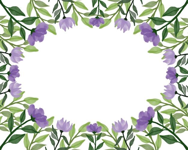 보라색 꽃 테두리가 있는 간단한 배경
