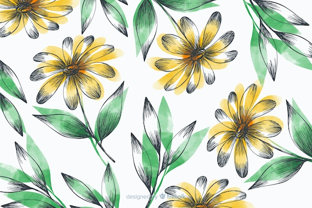 Simple background with yellow flowers