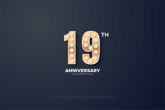 Simple background for your nineteenth anniversary with raised and glowing numbers