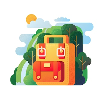 Simple backpack in nature illustration.