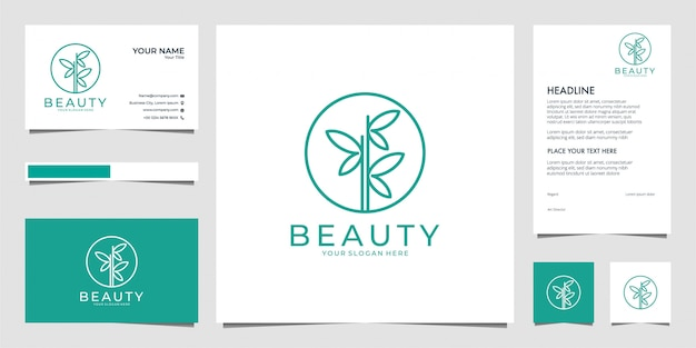 Simple bamboo for beauty and fashion logo and business card