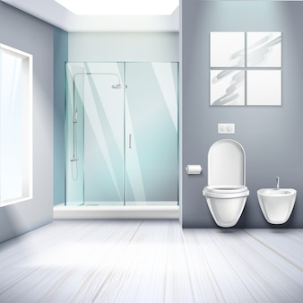 Simple bathroom interior realistic composition