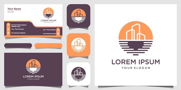 シンプルなビーチビルディングのロゴデザインテンプレートと名刺デザイン。