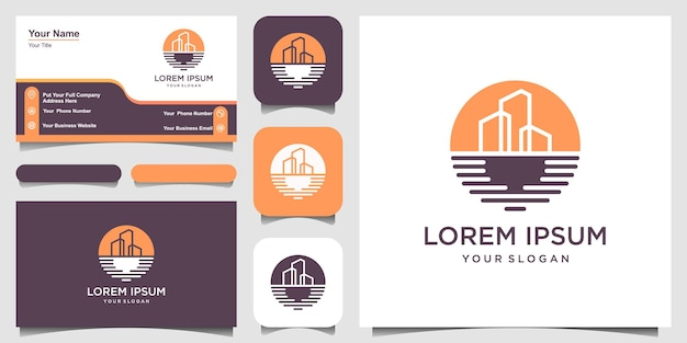 Simple beach building logo design template and business card design.