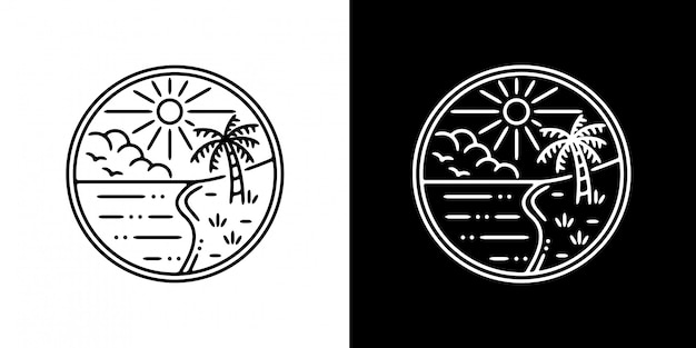 シンプルなビーチモノラインデザイン